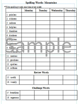 3rd Grade: L-25 Mountains Journeys Common Core Spelling Worksheet