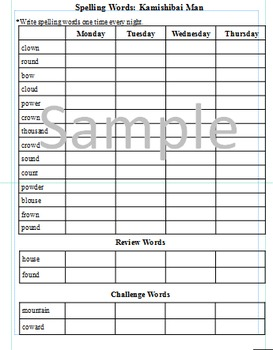 3rd Grade: L-9 Kamishibai Man Journeys Common Core Spelling Words Worksheet