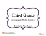 "3rd Grade LAFS Language Arts Florida Standards Checklist with ""I Can"" Statements"