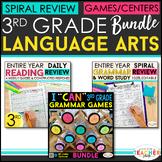 3rd Grade Language Arts BUNDLE | Spiral Review, Games & Qu