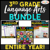 3rd Grade Language Arts BUNDLE   Spiral Review, Games & Qu