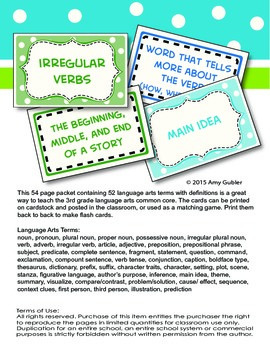 3rd Grade Language Arts Cards