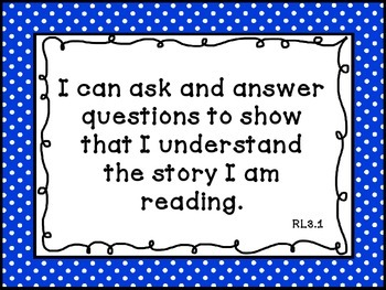 3rd Grade Language Arts Common Core I Can Statements