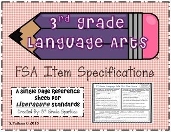 3rd Grade Language Arts FSA Item Specifications