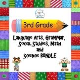 3rd Grade Language Arts, Grammar, Math, Social Studies, and Science BUNDLE