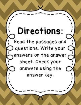 3rd Grade Language Arts Test Prep IREAD Task Cards Set 10