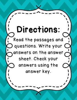 3rd Grade Language Arts Test Prep IREAD Task Cards Set 7