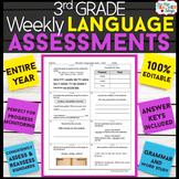 3rd Grade Language Assessments | 3rd Grade Grammar Quizzes EDITABLE