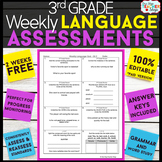 3rd Grade Language Assessments or Quizzes for Grammar & Wo