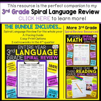 3rd Grade Language Assessments | 2 Weeks FREE