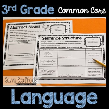 3rd Grade Language Graphic Organizers for Common Core