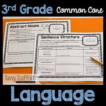 3rd Grade Language Graphic Organizers for Common Core