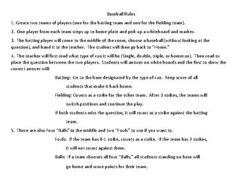 3rd Grade Language Review (3.2 and 3.3) Baseball