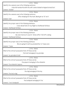 3rd Grade Language Review Question Cards for Common Core {414 Cards Included}