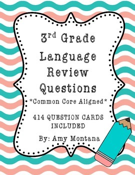 3rd Grade Language Review Question Cards for Common Core {