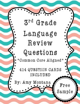 3rd Grade Language Review Question Cards for Common Core {Free Sample}