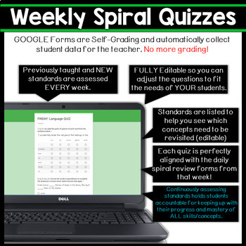 3rd Grade Language Spiral Review & Quizzes | Distance Learning Google Classroom