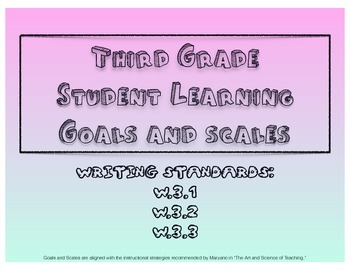 3rd Grade Writing Learning Goals and Scales - No Prep!