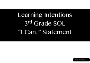 3rd Grade Learning Intentions