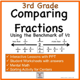 3rd Grade: Lessons Comparing Fractions (Benchmark 1/2) and PPT