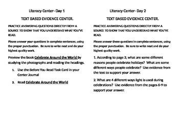 "3rd Grade Leveled Reader ""Celebrate around the world"" 5 day center"