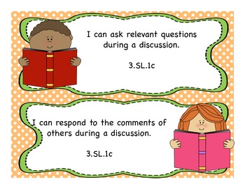 3rd Grade Listening and Speaking I Can Statements