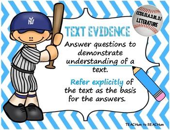 3rd Grade Literature CCSS Standards - Baseball theme