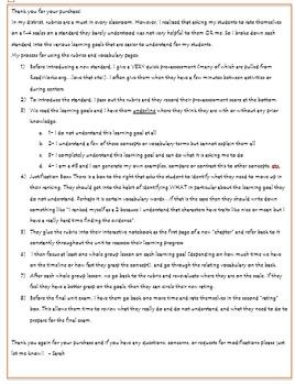 3rd Grade Literature Rubrics and Learning Goals- Florida