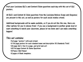 3rd  Grade Louisiana GLE Posters for Social Studies Black and White