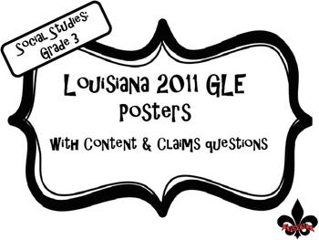 3rd  Grade Louisiana GLE Posters for Social Studies Black