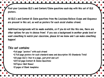 3rd  Grade Louisiana GLE Posters for Social Studies Red and Black Polka Dots