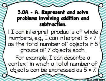 3rd Grade Louisiana NEW! Math State Standards I Can Statements