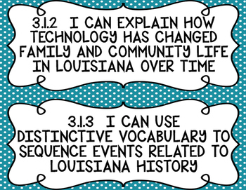 3rd Grade Louisiana Social Studies Standards I Can Statements