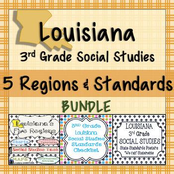 3rd Grade Louisiana Social Studies Standards and Five Region Task