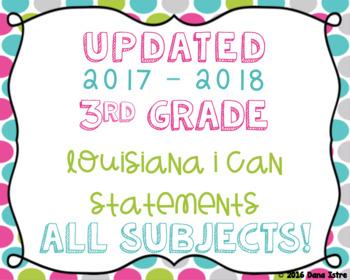 3rd Grade Louisiana State Standards I Can Statements Bundl