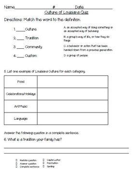 3rd Grade Louisiana Unit 1 Assessment Pack