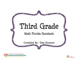 "3rd Grade MAFS Math Florida Standards Checklist with ""I Can"" Statements"