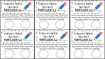 3rd Grade MAFS Operations and Algebraic Thinking Entrance and Exit Tickets