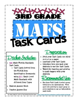 3rd Grade MAFS Review Task Cards (with Bonus Word Problem Solving Steps)