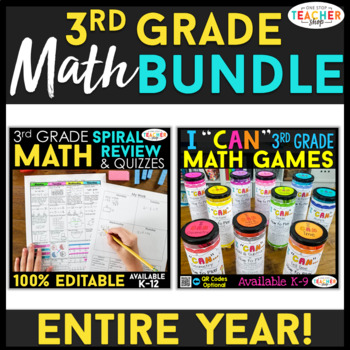 3rd Grade MATH BUNDLE | Spiral Review, Games & Quizzes | ENTIRE YEAR