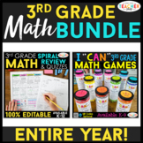 3rd Grade MATH BUNDLE   Spiral Review, Games & Quizzes   E