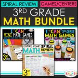 3rd Grade MATH BUNDLE | Spiral Review, Games & Quizzes | E