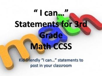 """3rd Grade MATH CCSS """"I Can"""" Statements {Editable PowerPoint Included}"""