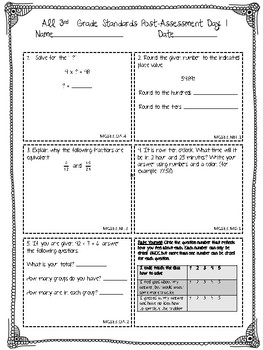 3rd Grade MATH End of the Year Post-Assessment ALL STANDARDS