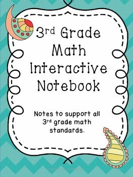3rd Grade MATH Interactive Notebook - Note Pages for the ENTIRE YEAR