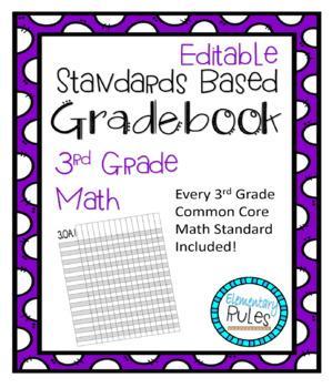 3rd Grade MATH Standards Based Grading Gradebook