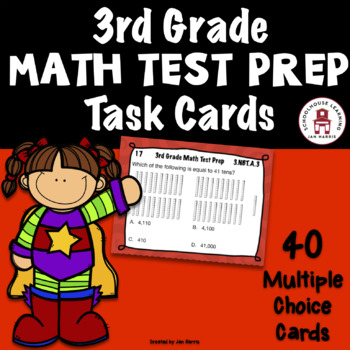 3rd Grade  MATH TEST PREP Task Cards