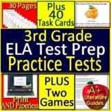 3rd Grade Test Prep ELA Reading SELF-GRADING GOOGLE FORM Tests, Cards, & Games