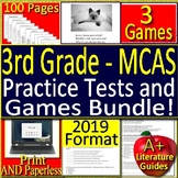 3rd Grade MCAS Test Prep Reading Practice Tests AND Games Bundle 2019 Test Style