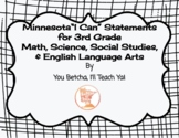 """3rd Grade MN State Standards """"I Can"""" Statements Bundle"""